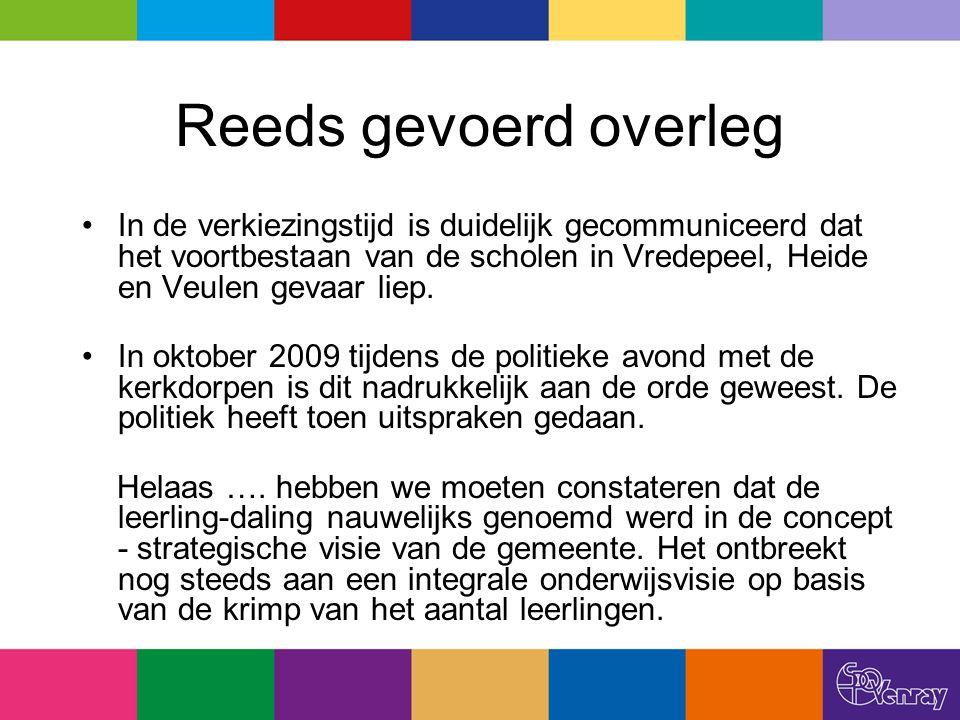 Reeds gevoerd overleg In de verkiezingstijd is duidelijk gecommuniceerd dat het voortbestaan van de scholen in Vredepeel, Heide en Veulen gevaar liep.