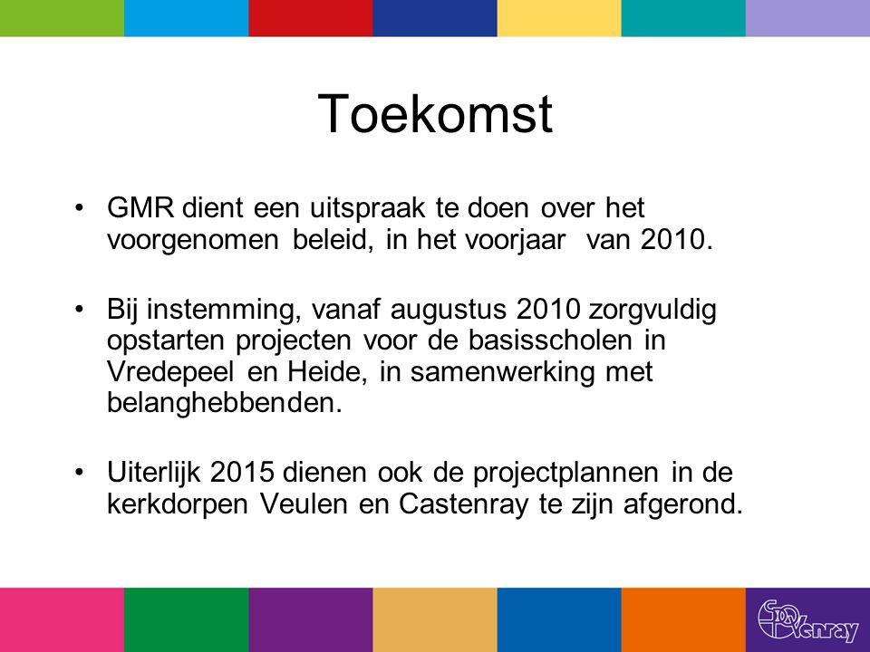 Toekomst GMR dient een uitspraak te doen over het voorgenomen beleid, in het voorjaar van 2010. Bij instemming, vanaf augustus 2010 zorgvuldig opstart