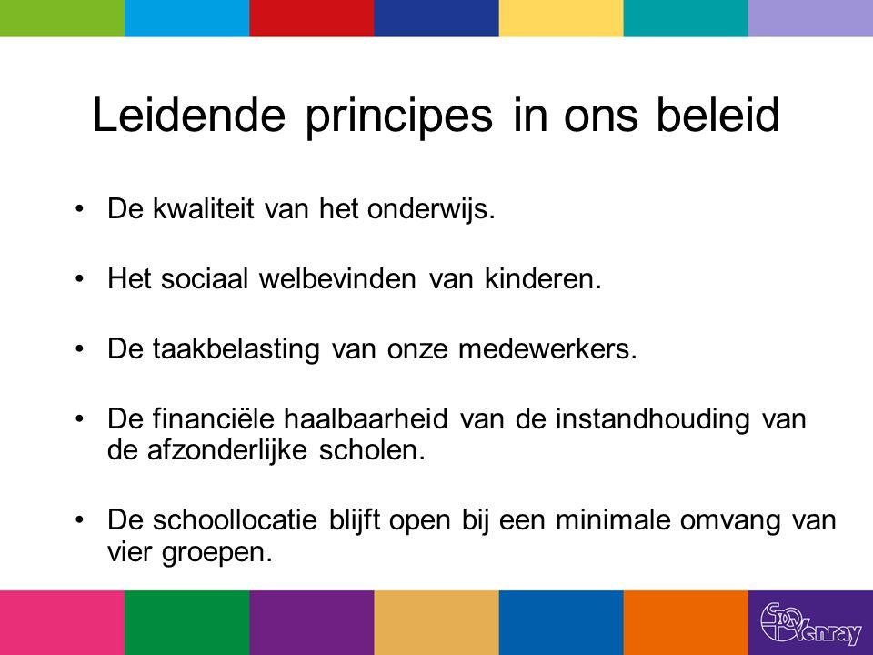 Leidende principes in ons beleid De kwaliteit van het onderwijs. Het sociaal welbevinden van kinderen. De taakbelasting van onze medewerkers. De finan