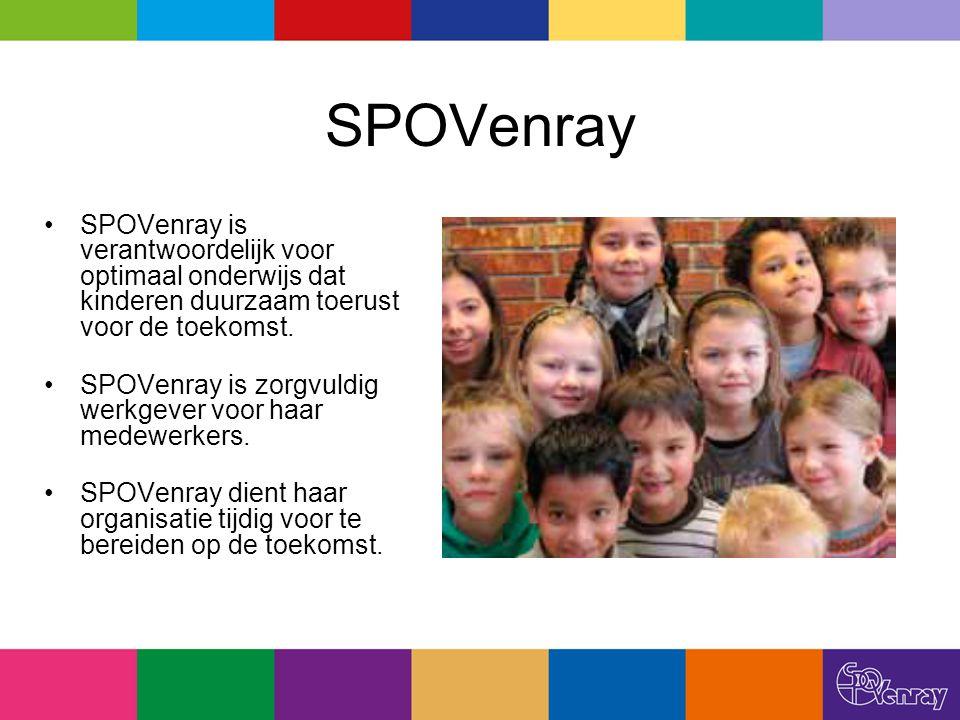 SPOVenray is verantwoordelijk voor optimaal onderwijs dat kinderen duurzaam toerust voor de toekomst. SPOVenray is zorgvuldig werkgever voor haar mede