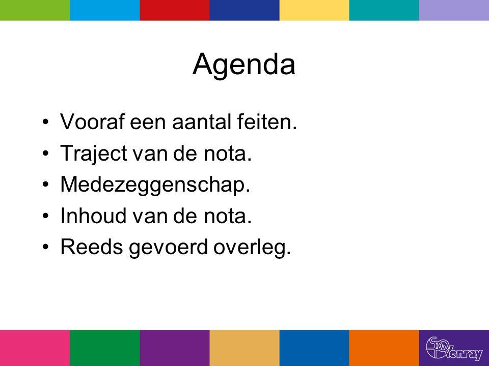 Agenda Vooraf een aantal feiten. Traject van de nota. Medezeggenschap. Inhoud van de nota. Reeds gevoerd overleg.