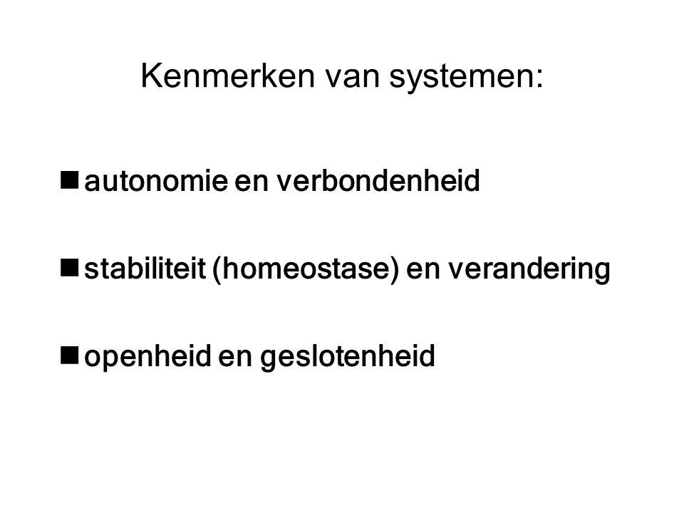 Kenmerken van systemen: autonomie en verbondenheid stabiliteit (homeostase) en verandering openheid en geslotenheid