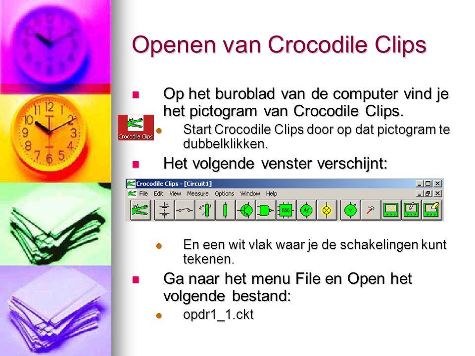 Openen van Crocodile Clips Op het buroblad van de computer vind je het pictogram van Crocodile Clips. Op het buroblad van de computer vind je het pict