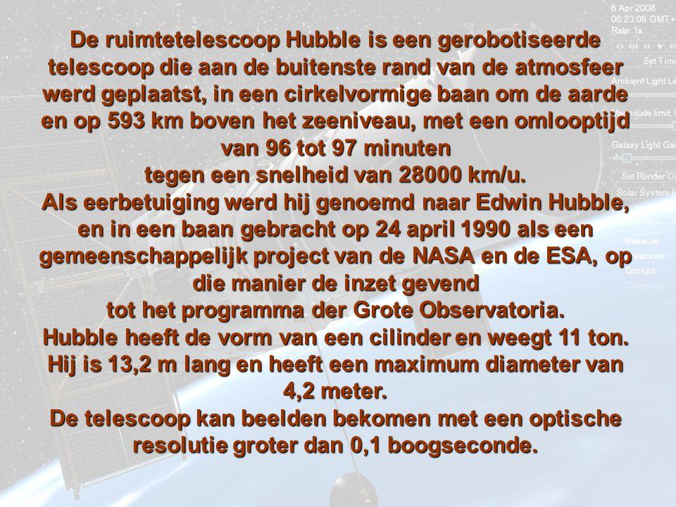 De ruimtetelescoop Hubble is een gerobotiseerde telescoop die aan de buitenste rand van de atmosfeer werd geplaatst, in een cirkelvormige baan om de aarde en op 593 km km boven het zeeniveau, met een omlooptijd van 96 tot 97 minuten tegen een snelheid van 28000 km/u.