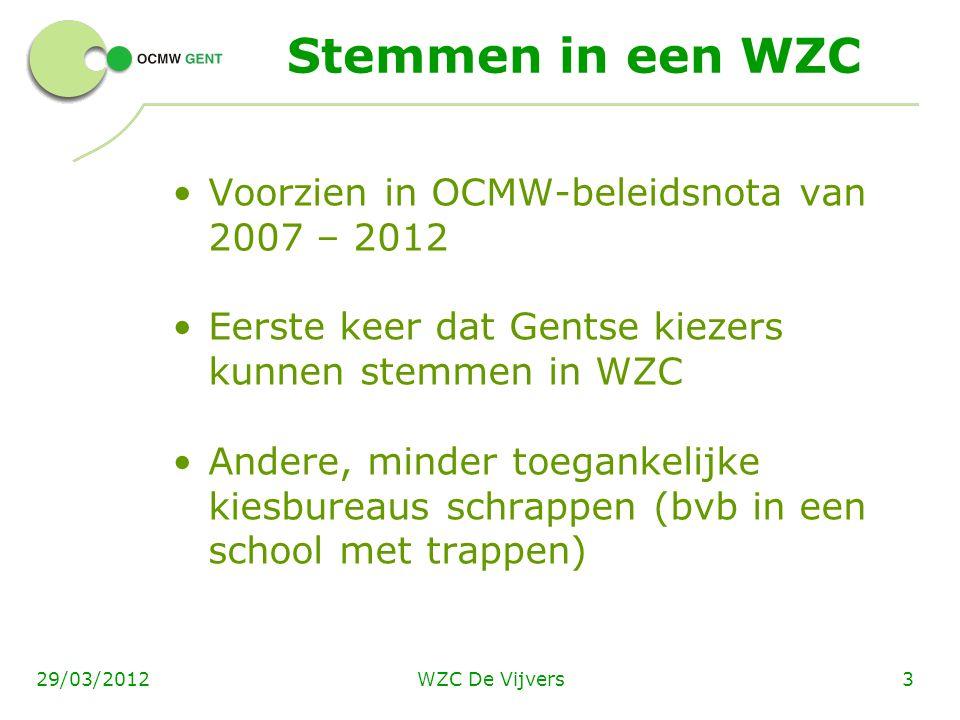 WZC De Vijvers329/03/2012 Stemmen in een WZC Voorzien in OCMW-beleidsnota van 2007 – 2012 Eerste keer dat Gentse kiezers kunnen stemmen in WZC Andere,