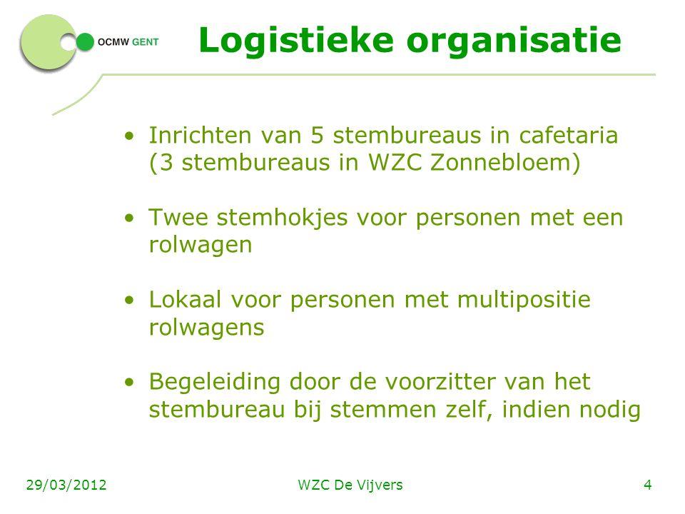 WZC De Vijvers429/03/2012 Logistieke organisatie Inrichten van 5 stembureaus in cafetaria (3 stembureaus in WZC Zonnebloem) Twee stemhokjes voor perso