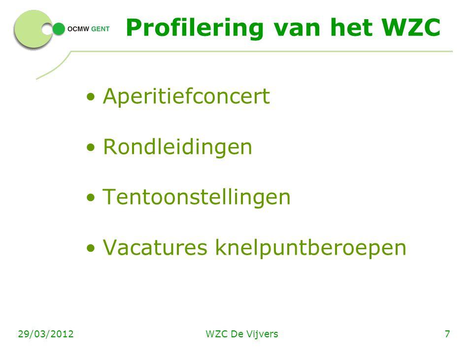 WZC De Vijvers729/03/2012 Profilering van het WZC Aperitiefconcert Rondleidingen Tentoonstellingen Vacatures knelpuntberoepen