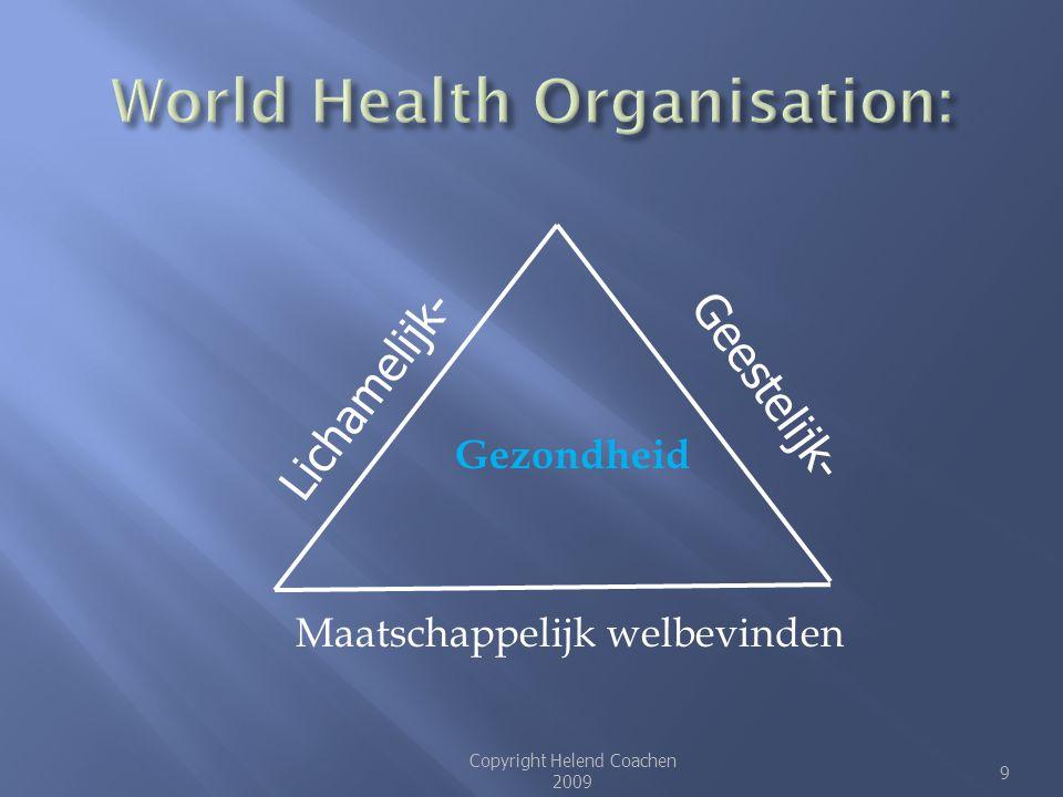 Gezondheid Maatschappelijk welbevinden Copyright Helend Coachen 2009 9 Lichamelijk- Geestelijk-