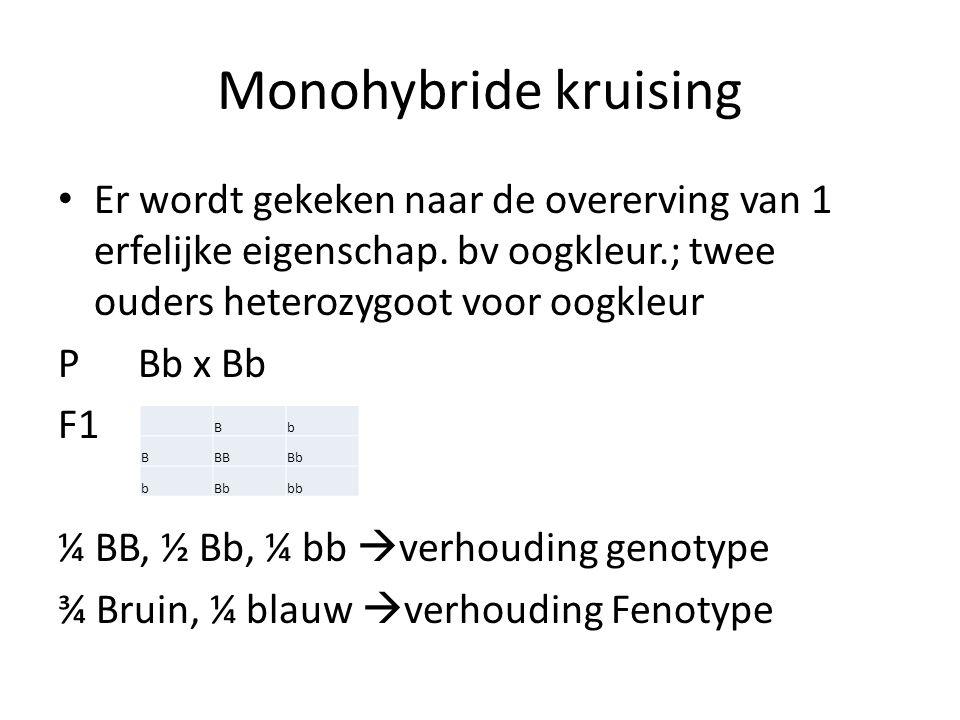 Monohybride kruising Er wordt gekeken naar de overerving van 1 erfelijke eigenschap. bv oogkleur.; twee ouders heterozygoot voor oogkleur P Bb x Bb F1