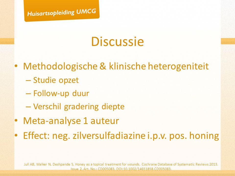 Discussie Methodologische & klinische heterogeniteit – Studie opzet – Follow-up duur – Verschil gradering diepte Meta-analyse 1 auteur Effect: neg. zi
