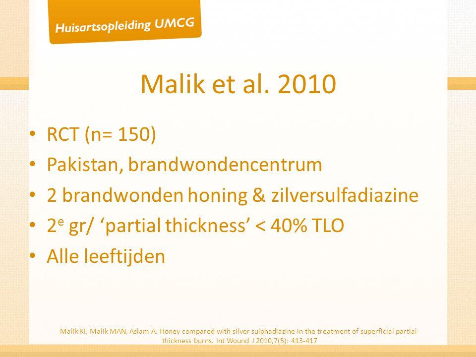Malik et al. 2010 RCT (n= 150) Pakistan, brandwondencentrum 2 brandwonden honing & zilversulfadiazine 2 e gr/ 'partial thickness' < 40% TLO Alle leeft
