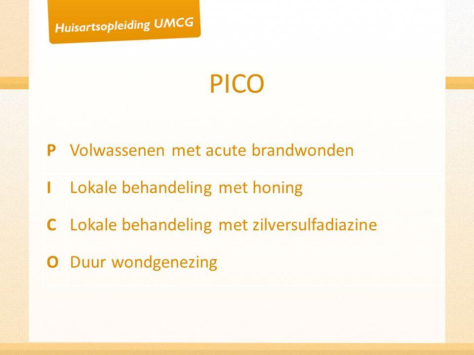 PICO PVolwassenen met acute brandwonden ILokale behandeling met honing CLokale behandeling met zilversulfadiazine ODuur wondgenezing
