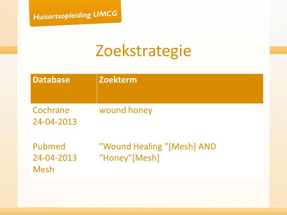 Zoekstrategie DatabaseZoekterm Cochrane 24-04-2013 wound honey Pubmed 24-04-2013 Mesh