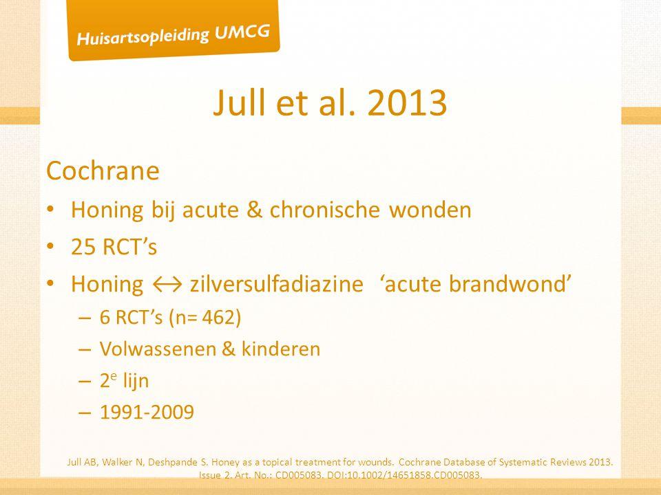 Jull et al. 2013 Cochrane Honing bij acute & chronische wonden 25 RCT's Honing ↔ zilversulfadiazine 'acute brandwond' – 6 RCT's (n= 462) – Volwassenen