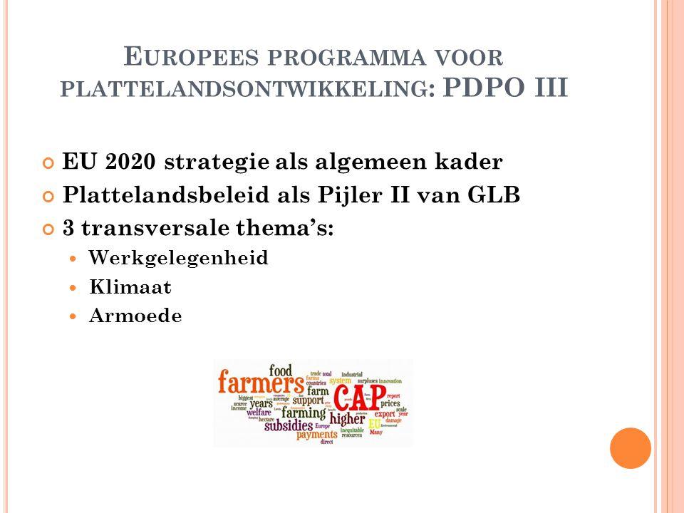 E UROPEES PROGRAMMA VOOR PLATTELANDSONTWIKKELING : PDPO III EU 2020 strategie als algemeen kader Plattelandsbeleid als Pijler II van GLB 3 transversale thema's: Werkgelegenheid Klimaat Armoede