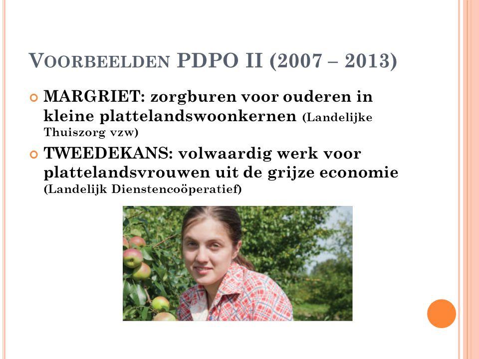 V OORBEELDEN PDPO II (2007 – 2013) MARGRIET: zorgburen voor ouderen in kleine plattelandswoonkernen (Landelijke Thuiszorg vzw) TWEEDEKANS: volwaardig werk voor plattelandsvrouwen uit de grijze economie (Landelijk Dienstencoöperatief)