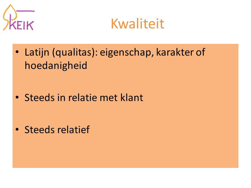 Kwaliteit Latijn (qualitas): eigenschap, karakter of hoedanigheid Steeds in relatie met klant Steeds relatief