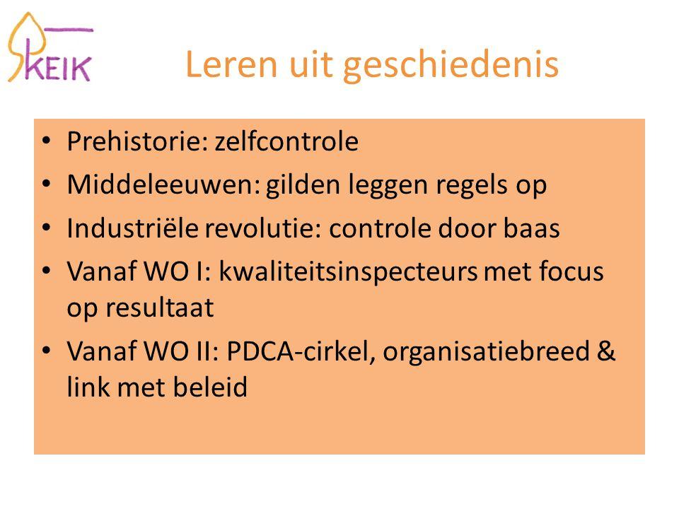 Leren uit geschiedenis Prehistorie: zelfcontrole Middeleeuwen: gilden leggen regels op Industriële revolutie: controle door baas Vanaf WO I: kwaliteitsinspecteurs met focus op resultaat Vanaf WO II: PDCA-cirkel, organisatiebreed & link met beleid