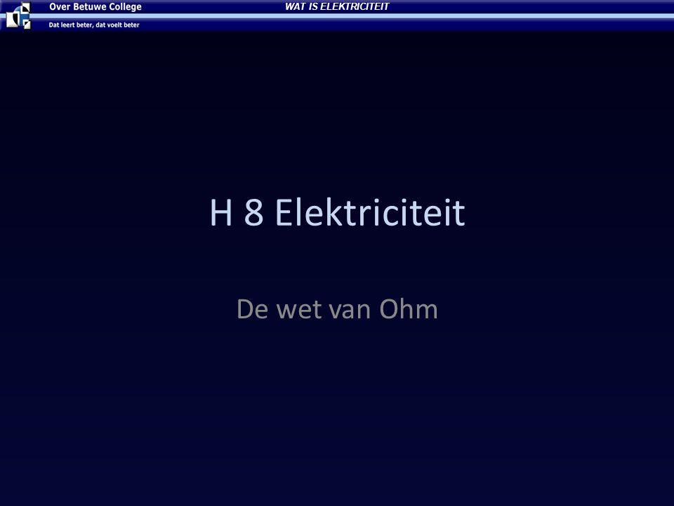 H 8 Elektriciteit De wet van Ohm WAT IS ELEKTRICITEIT