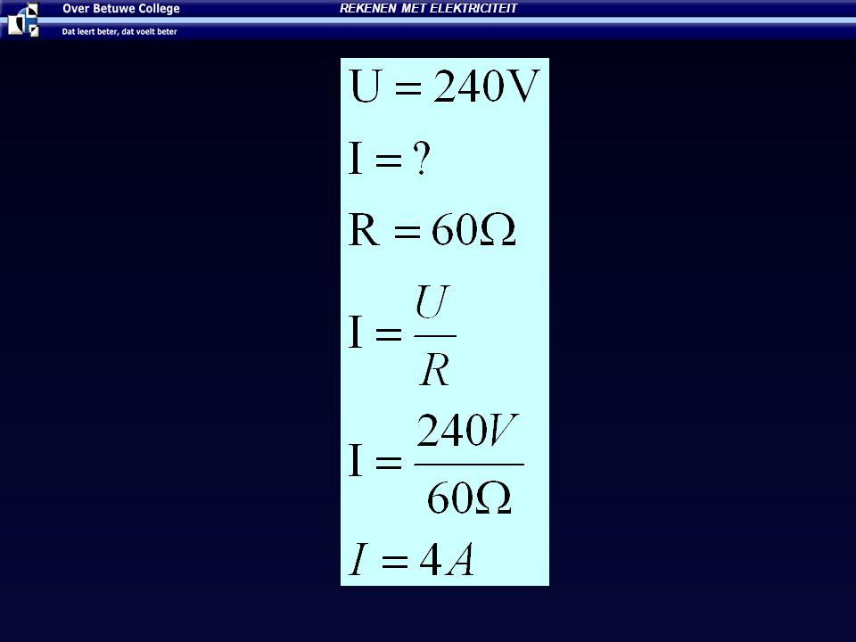 Wet van Ohm Een lampje is aangesloten en er loopt een stroom van 15 mA.