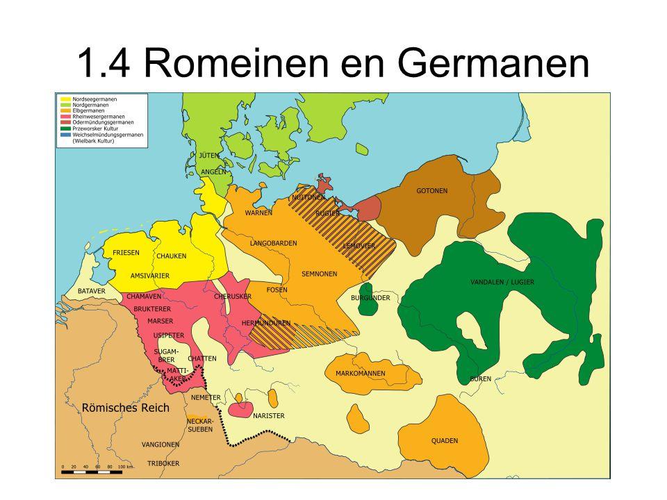 Contact Romeinen en Germanen: - Een aantal germaanse stammen werd bondgenoot en leefde in de grensgebieden.