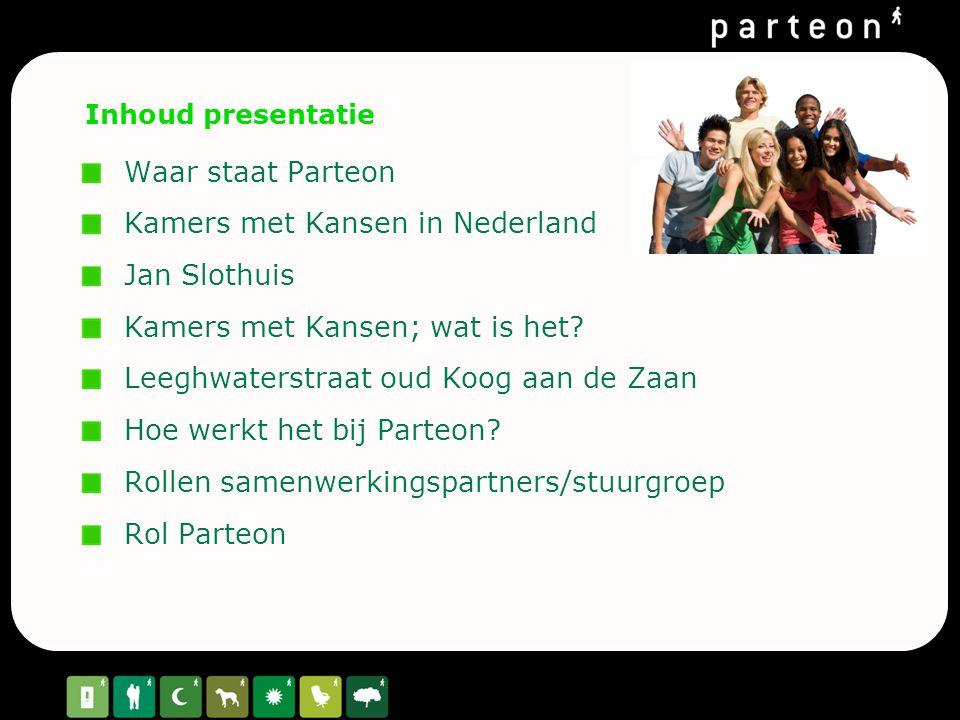 Inhoud presentatie Waar staat Parteon Kamers met Kansen in Nederland Jan Slothuis Kamers met Kansen; wat is het? Leeghwaterstraat oud Koog aan de Zaan