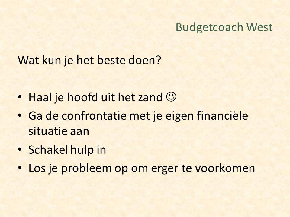 Budgetcoach West Budgetcoach traject, bestaat normaal gesproken uit drie fases 1.Intake / bekijken huidige administratie / schulden / ontvangst bankafschriften 2.Schuldeisers aanschrijven / inkomsten en uitgaven inventariseren / budgetoverzicht 3.Voorstel schulden / budgetplan toekomst