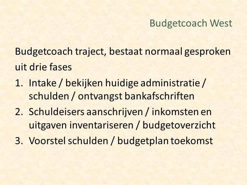 Budgetcoach West Budgetcoach traject, bestaat normaal gesproken uit drie fases 1.Intake / bekijken huidige administratie / schulden / ontvangst bankaf