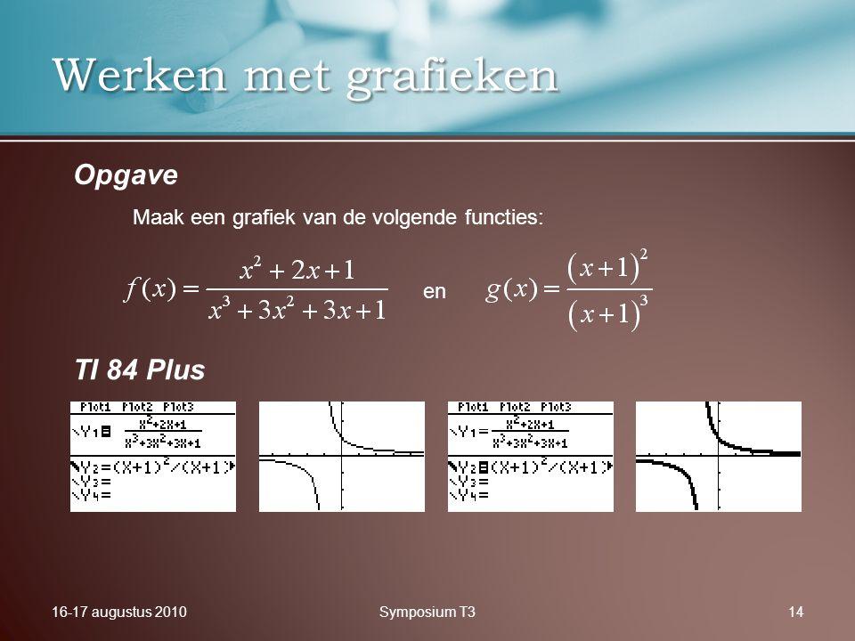 16-17 augustus 2010Symposium T314 Werken met grafieken Opgave TI 84 Plus Maak een grafiek van de volgende functies: en