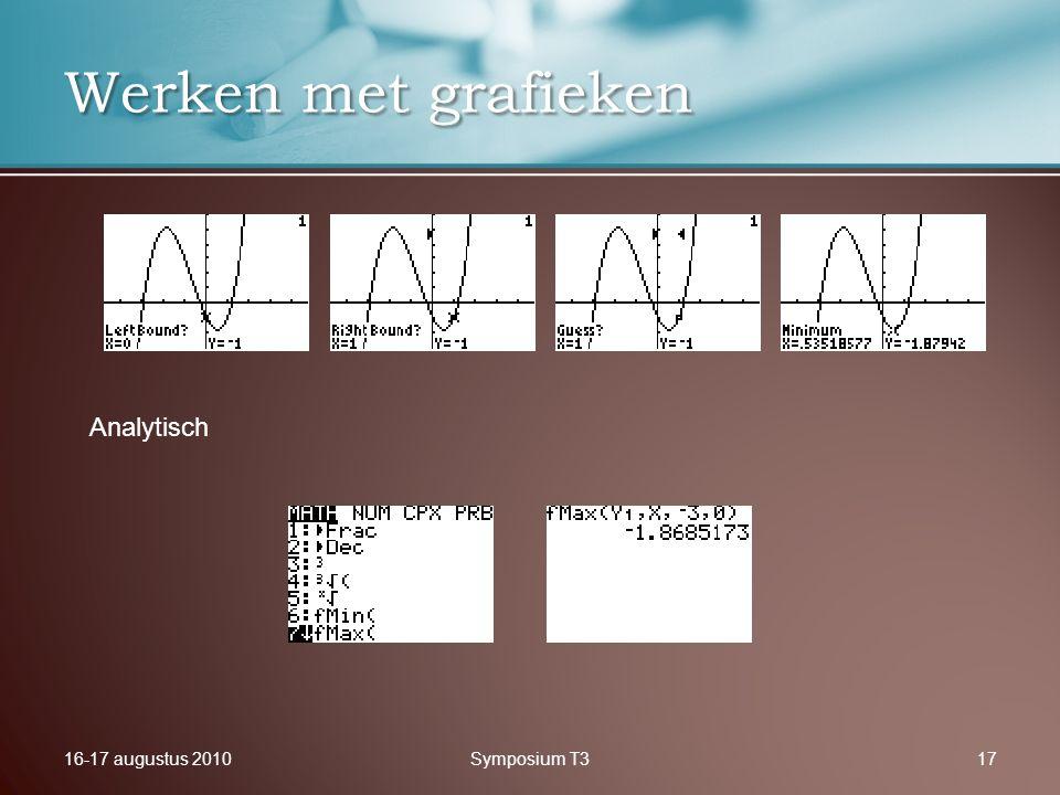 16-17 augustus 2010Symposium T317 Werken met grafieken Analytisch