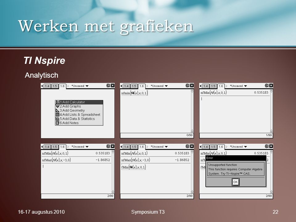 16-17 augustus 2010Symposium T322 Werken met grafieken TI Nspire Analytisch