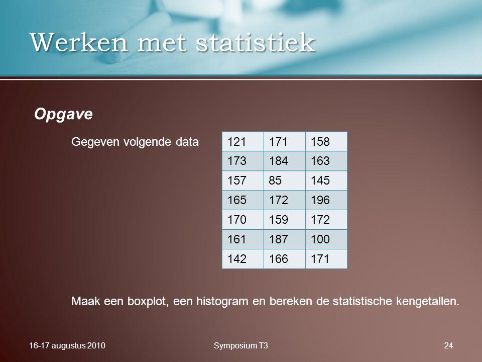 16-17 augustus 2010Symposium T324 Werken met statistiek Opgave Gegeven volgende data 121171158 173184163 15785145 165172196 170159172 161187100 142166171 Maak een boxplot, een histogram en bereken de statistische kengetallen.