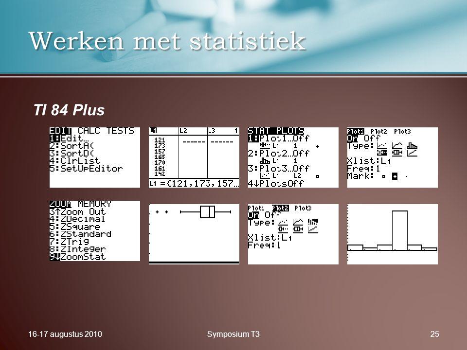 16-17 augustus 2010Symposium T325 Werken met statistiek TI 84 Plus