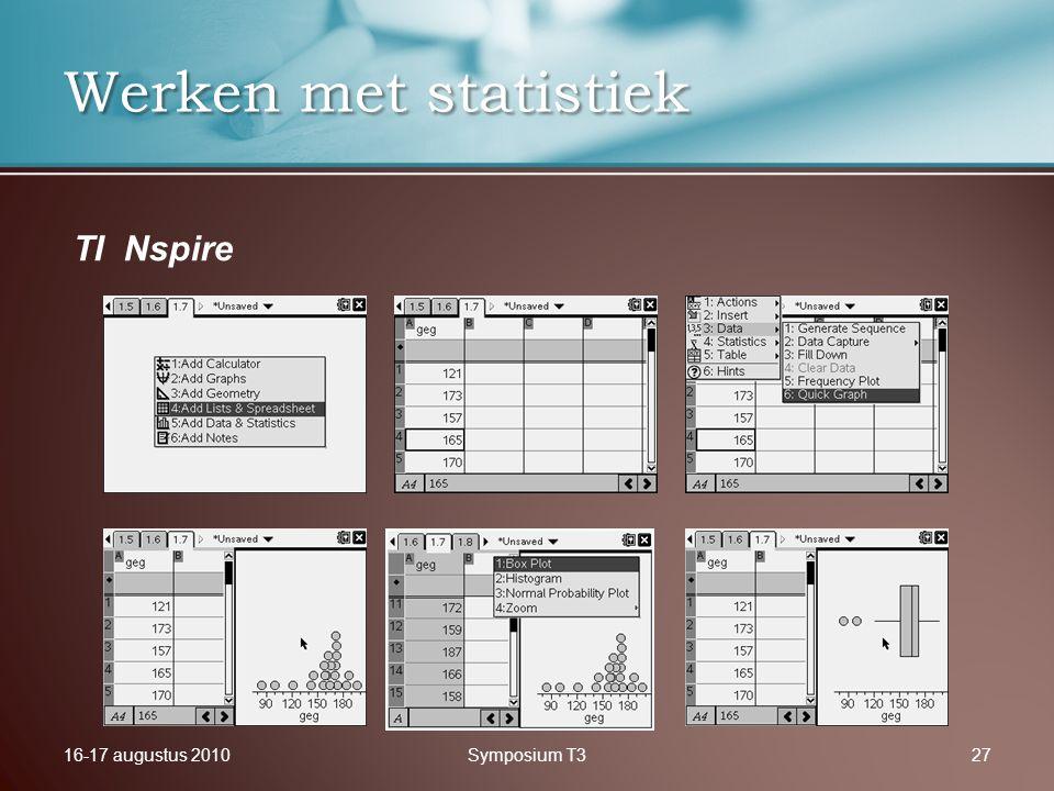 16-17 augustus 2010Symposium T327 Werken met statistiek TI Nspire