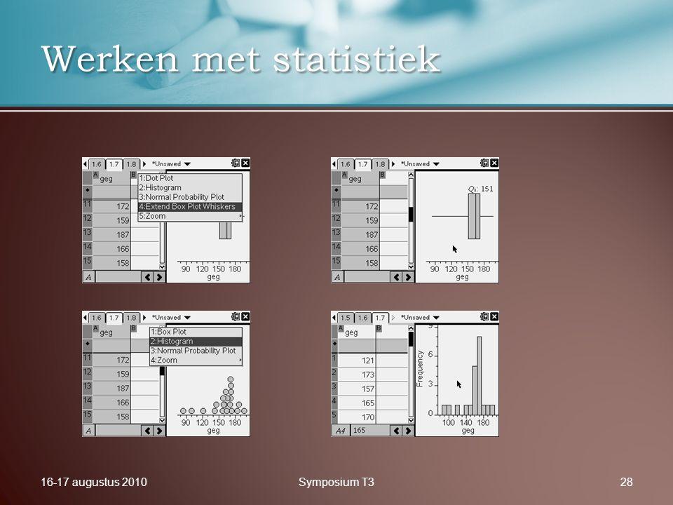 16-17 augustus 2010Symposium T328 Werken met statistiek