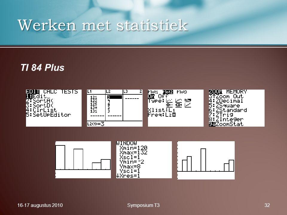 16-17 augustus 2010Symposium T332 Werken met statistiek TI 84 Plus