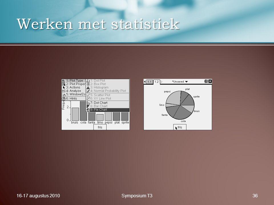 16-17 augustus 2010Symposium T336 Werken met statistiek