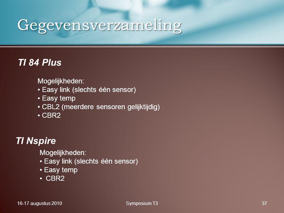 16-17 augustus 2010Symposium T337 Gegevensverzameling TI Nspire TI 84 Plus Mogelijkheden: Easy link (slechts één sensor) Easy temp CBL2 (meerdere sens