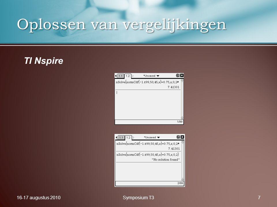 16-17 augustus 2010Symposium T37 Oplossen van vergelijkingen TI Nspire
