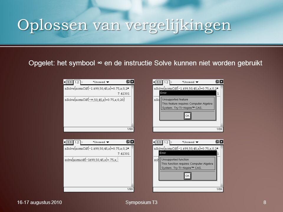 16-17 augustus 2010Symposium T38 Oplossen van vergelijkingen Opgelet: het symbool ∞ en de instructie Solve kunnen niet worden gebruikt