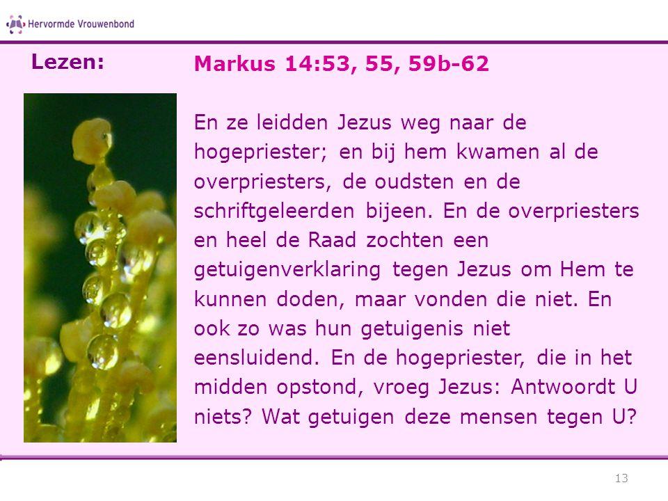 Markus 14:53, 55, 59b-62 En ze leidden Jezus weg naar de hogepriester; en bij hem kwamen al de overpriesters, de oudsten en de schriftgeleerden bijeen.