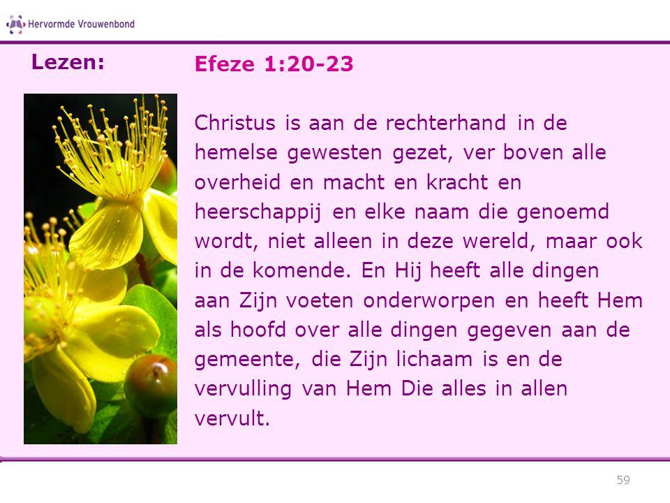 Efeze 1:20-23 Christus is aan de rechterhand in de hemelse gewesten gezet, ver boven alle overheid en macht en kracht en heerschappij en elke naam die genoemd wordt, niet alleen in deze wereld, maar ook in de komende.