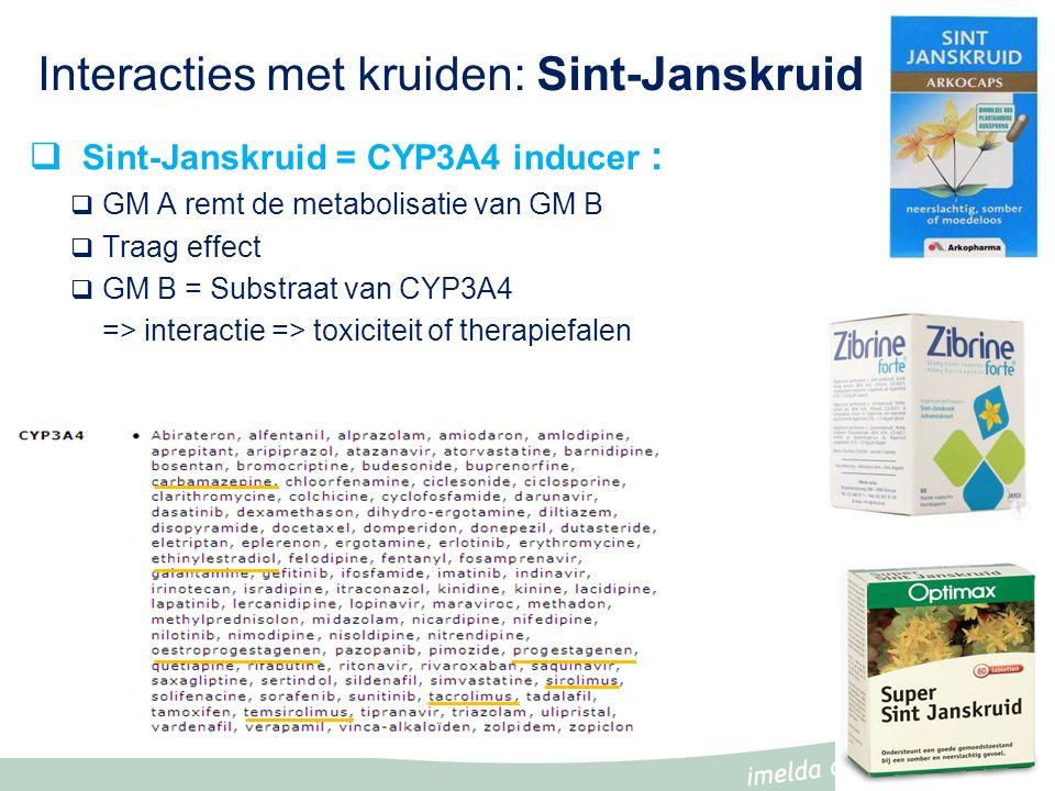 Interacties met kruiden: Sint-Janskruid  Sint-Janskruid = CYP3A4 inducer :  GM A remt de metabolisatie van GM B  Traag effect  GM B = Substraat van CYP3A4 => interactie => toxiciteit of therapiefalen