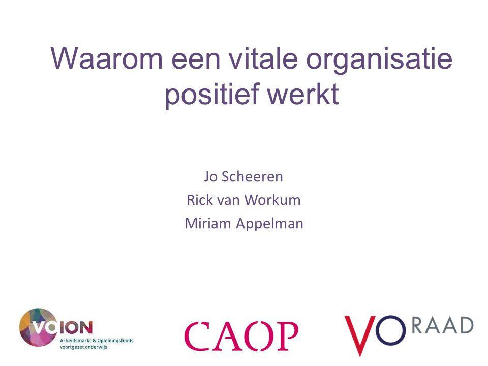 Waarom een vitale organisatie positief werkt Jo Scheeren Rick van Workum Miriam Appelman