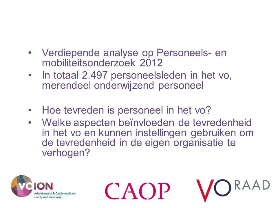 Verdiepende analyse op Personeels- en mobiliteitsonderzoek 2012 In totaal 2.497 personeelsleden in het vo, merendeel onderwijzend personeel Hoe tevreden is personeel in het vo.