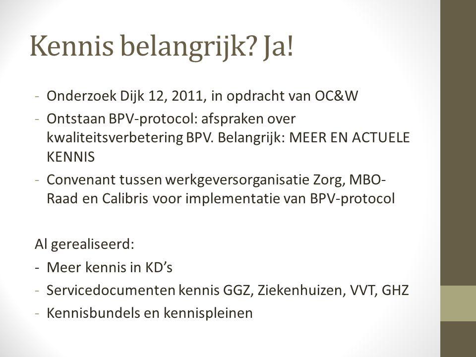 Kennis belangrijk? Ja! -Onderzoek Dijk 12, 2011, in opdracht van OC&W -Ontstaan BPV-protocol: afspraken over kwaliteitsverbetering BPV. Belangrijk: ME