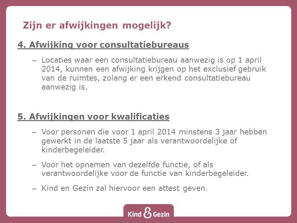 4. Afwijking voor consultatiebureaus – Locaties waar een consultatiebureau aanwezig is op 1 april 2014, kunnen een afwijking krijgen op het exclusief