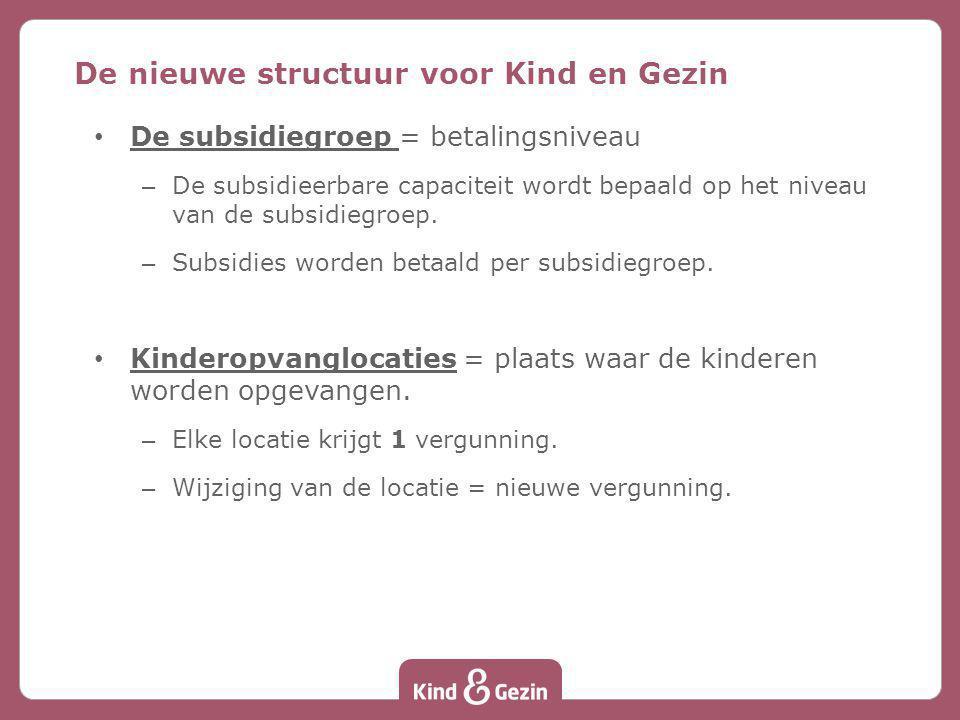 De subsidiegroep = betalingsniveau – De subsidieerbare capaciteit wordt bepaald op het niveau van de subsidiegroep. – Subsidies worden betaald per sub