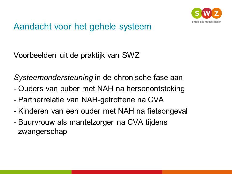 Aandacht voor het gehele systeem Voorbeelden uit de praktijk van SWZ Systeemondersteuning in de chronische fase aan -Ouders van puber met NAH na herse