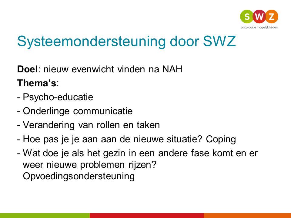 Systeemondersteuning door SWZ Doel: nieuw evenwicht vinden na NAH Thema's: -Psycho-educatie -Onderlinge communicatie -Verandering van rollen en taken